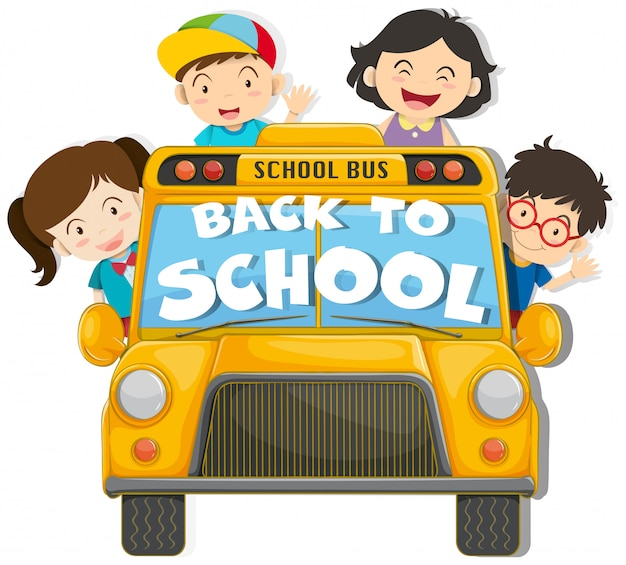 Children riding on the school bus Free Vector