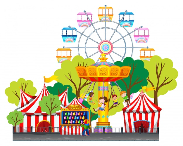 Children riding on swing at the fun park Free Vector