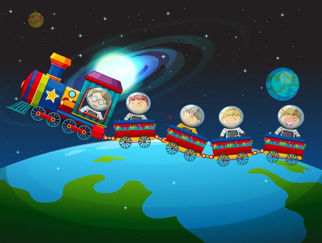 Children riding train in space Free Vector