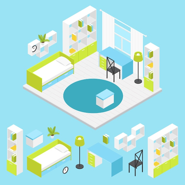 Children room composition in isometric Free Vector