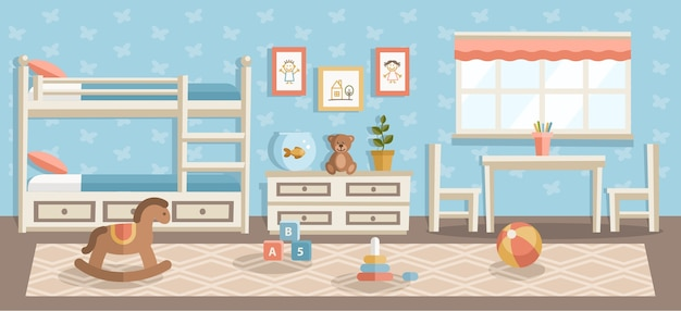 Плоская иллюстрация детской комнаты, детская, современный дизайн интерьера детского сада, пляжный мяч, детские игрушки пирамиды в спальне, детские рисунки, висящие на синей стене и бежевый ковер на деревянном полу Premium векторы