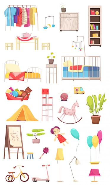 Children room interior elements set with clothing, furniture, toys, plants, bike and scooter illustration Free Vector