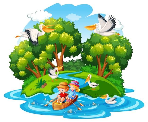 I bambini remano sulla barca nella scena della foresta del torrente Vettore gratuito