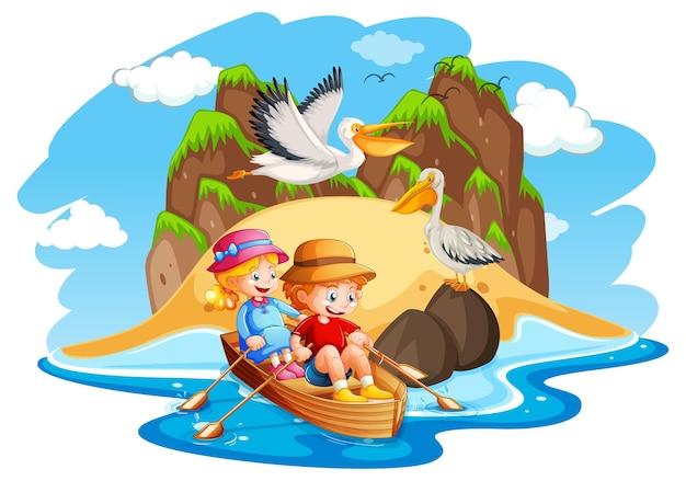 아이들은 바다 장면에서 보트를 젓는다. 무료 벡터