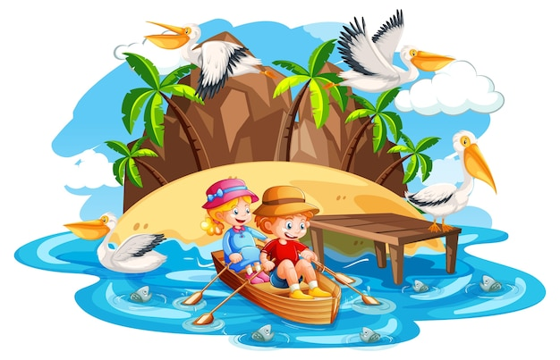 Дети гребут на лодке в сцене пляжа ручья на белом фоне Бесплатные векторы