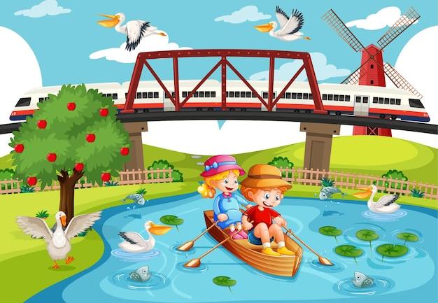 川の街のシーンで子供たちがボートを漕ぐ Premiumベクター