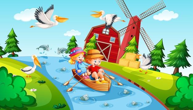 Дети гребут на лодке в сцене фермы ручья Бесплатные векторы