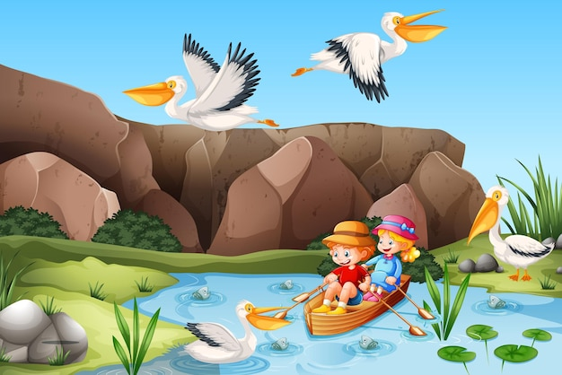 子供たちは小川の森のシーンでボートを漕ぐ 無料ベクター