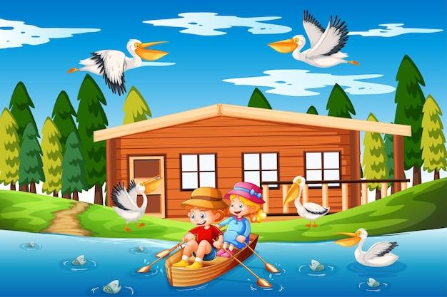 子供たちは小川の森のシーンでボートを漕ぐ Premiumベクター
