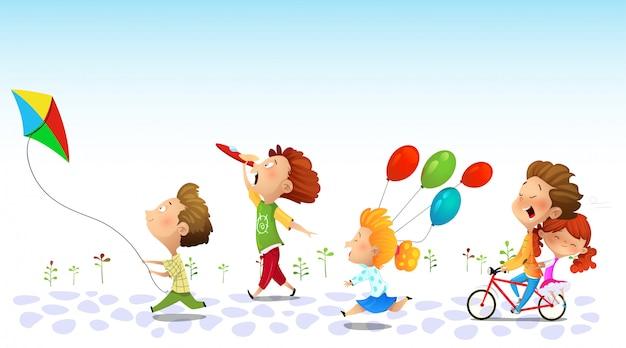Дети бегают, дружба Premium векторы
