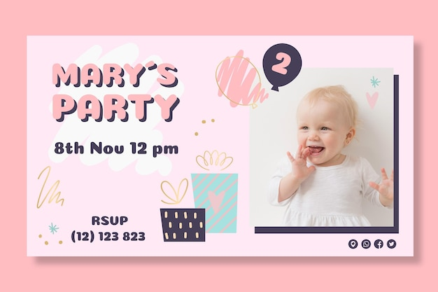 Детский дизайн баннера на день рождения Premium векторы