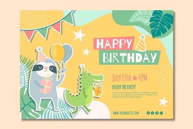 Children's birthday banner Premium Vector