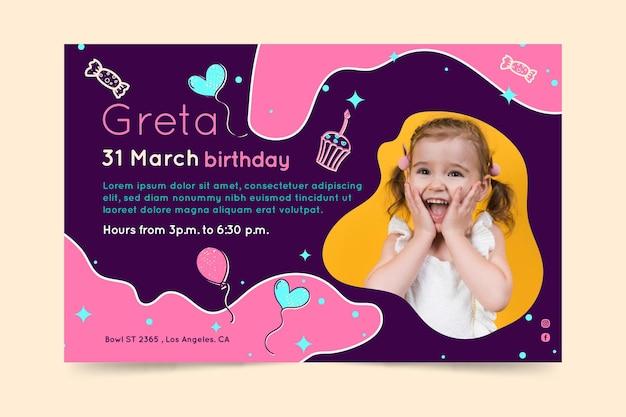 Детский день рождения баннер Premium векторы