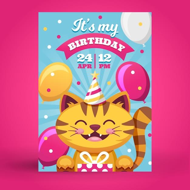 猫と子供の誕生日カード/招待状テンプレート Premiumベクター