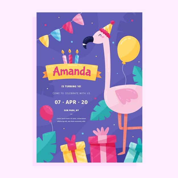 Groovy Childrens Birthday Card Invitation Template With Flamingo And Funny Birthday Cards Online Fluifree Goldxyz
