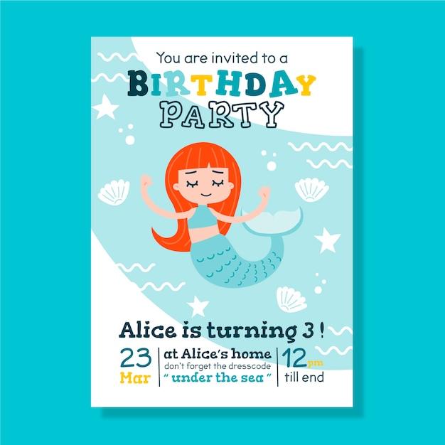 人魚と子供の誕生日カード/招待状テンプレート Premiumベクター