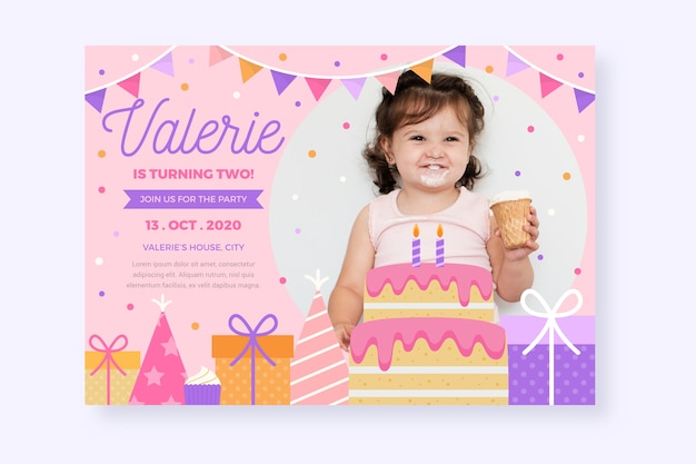 Free Vector Children S Birthday Card Invitation Template