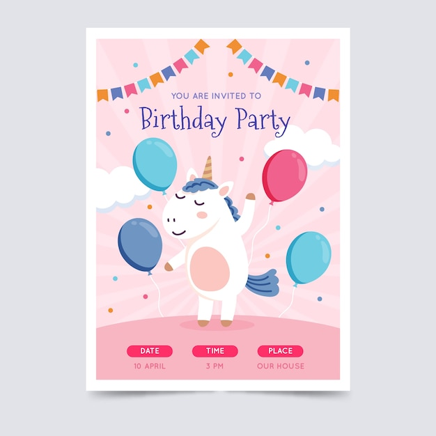Children's birthday card invitation template Free Vector
