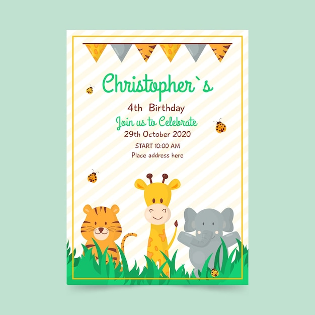 Children's birthday card template with animals Free Vector