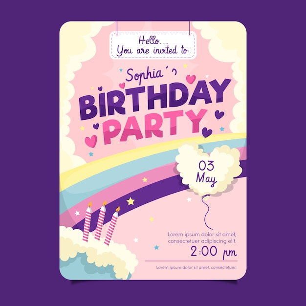 Children's birthday card template with cake Free Vector
