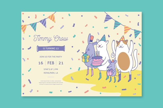 Children's birthday card template with illustrations Free Vector