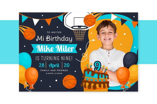 Children's birthday card template with photo Free Vector