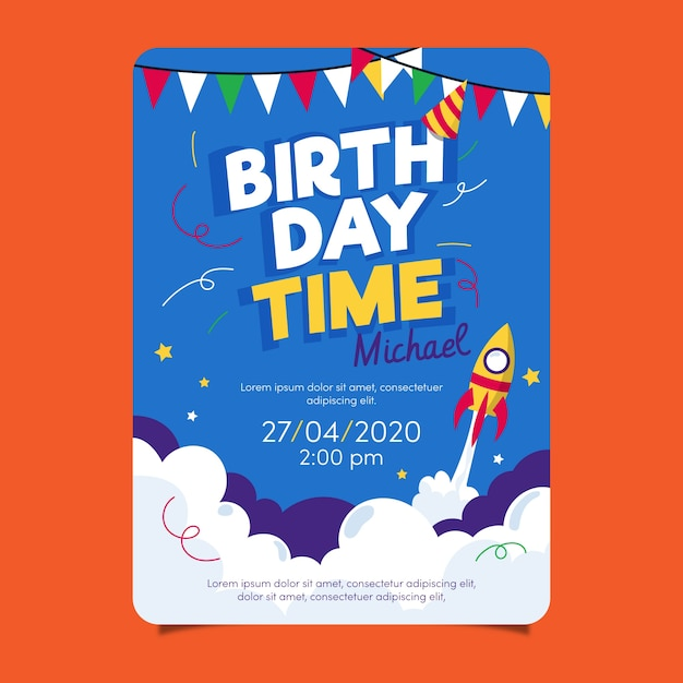 Children's birthday card template with rocket Free Vector