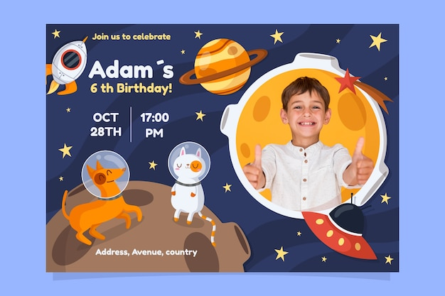 Children's birthday card template with space and planets Free Vector