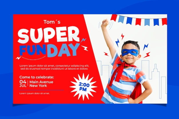 Children's birthday card template with super fun Free Vector