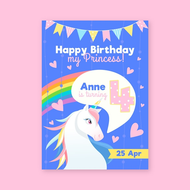 子供の誕生日カードテンプレート Premiumベクター