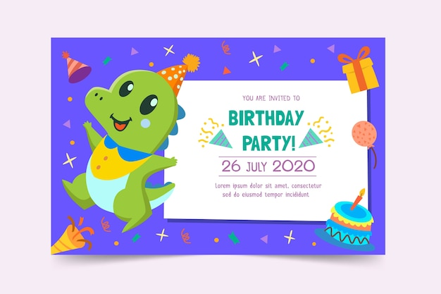 Children's birthday card template Premium Vector