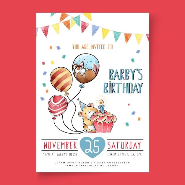 子供の誕生日カードテンプレート 無料ベクター