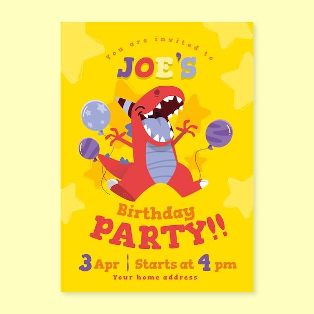 Children's birthday card with dinosaur Premium Vector