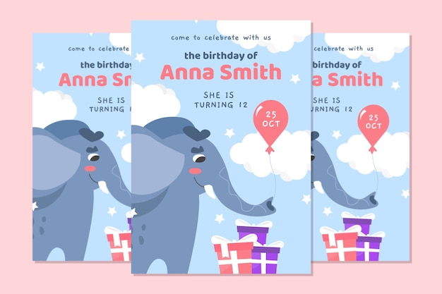 Children's birthday card with elephant Free Vector