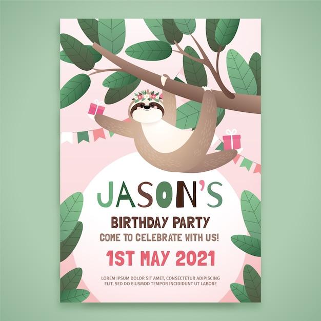 Biglietto d'auguri per bambini con bradipo Vettore gratuito