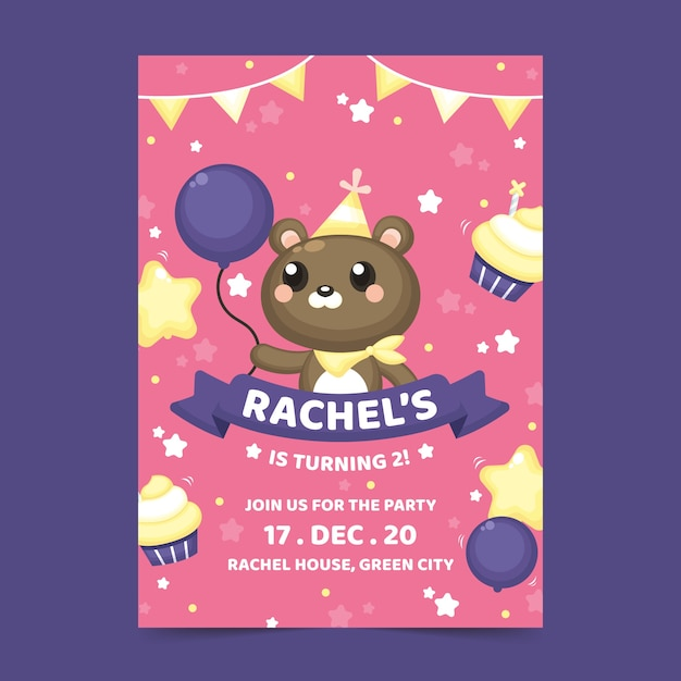 Children's birthday card with teddy bear Free Vector