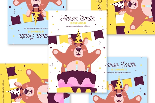 Children's birthday card with with happy bear Free Vector