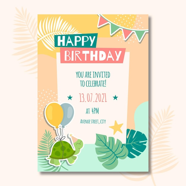子供の誕生日カード Premiumベクター