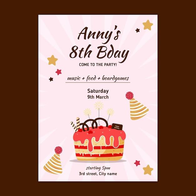 Children's birthday card Free Vector