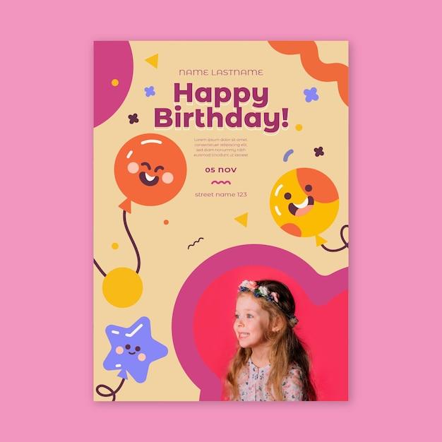 Free Vector Children S Birthday Flyer Vertical
