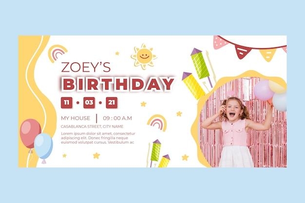 Детский день рождения горизонтальный баннер Premium векторы