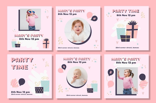 Children's birthday instagram post set Free Vector