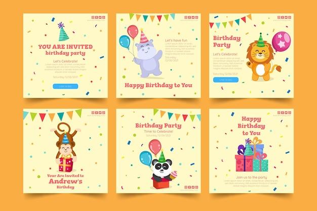 Детский день рождения instagram пост шаблон Бесплатные векторы