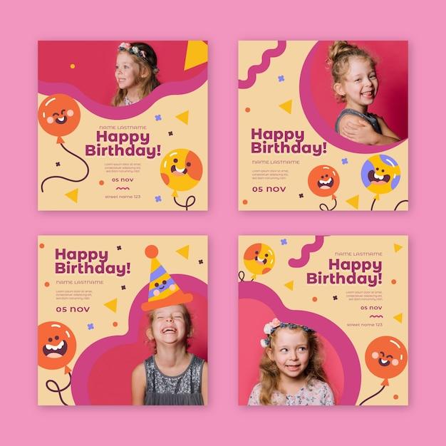 Children's birthday instagram posts Free Vector