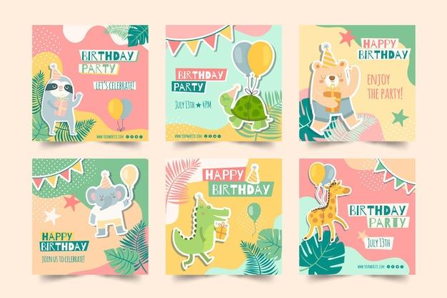 子供の誕生日のinstagramの投稿 Premiumベクター