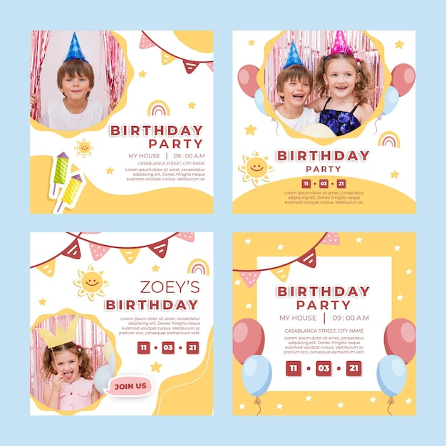 Children's birthday instagram posts Premium Vector