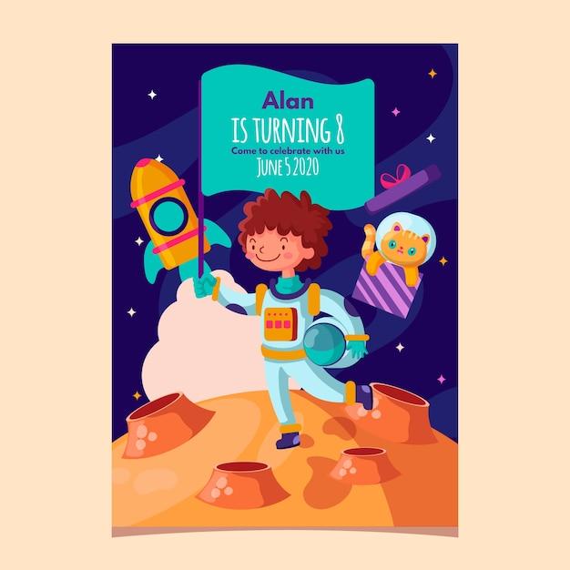 Modello dell'invito di compleanno dei bambini con l'astronauta e lo spazio Vettore gratuito