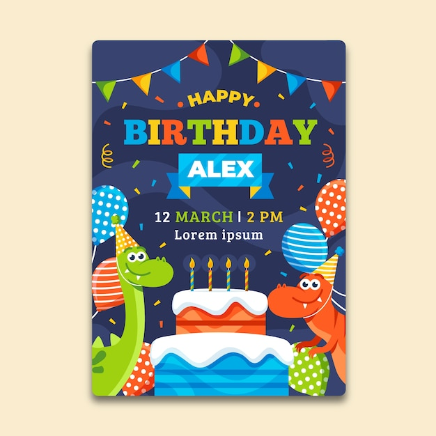 Children's birthday invitation template with balloons and dinosaurs Free Vector