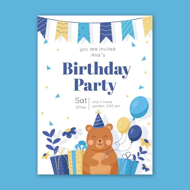 Детский шаблон приглашения дня рождения с мишкой и воздушными шарами Бесплатные векторы
