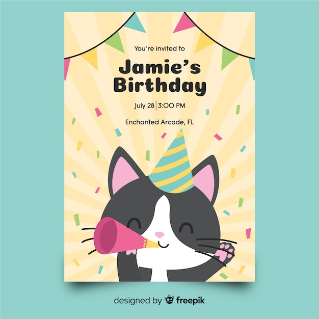 Children's birthday invitation template with cat Free Vector